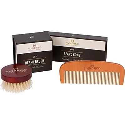HBC Premium Beard Care Tool Kit - Horsehair Beard Brush & Handcrafted Beard Comb - Best Men's Grooming Set - Perfect for Beard Balms and Oils