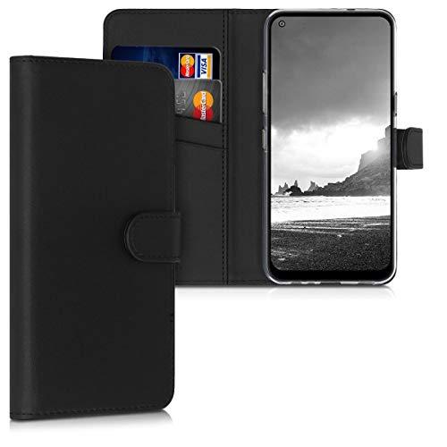 kwmobile Hülle kompatibel mit LG K61 - Kunstleder Wallet Hülle mit Kartenfächern Stand in Schwarz