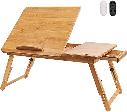 ZXC Escritorio de Laptop Plegable de bambú, Bandeja de Mesa de Desayuno Cama, Altura y ángulo Ajustables, Mesa de Cuaderno con cajón y Deflector, Bandeja de Vuelta con piernas