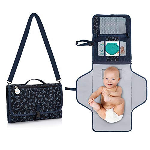 BabyOrbit Portable Diaper Changing Pad - Waterproof Portable Changing Pad for Baby, Travel Pad Kit, Wipes Pocket + 2 More and Built-in Memory Foam...