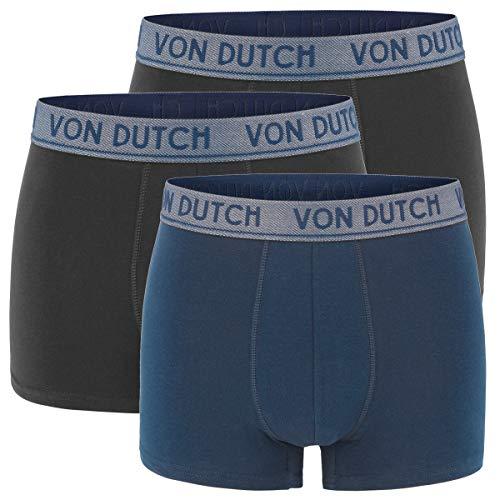 Von Dutch 3er Pack Original Boxer Brief Boxershorts Herren Unterwäsche VD1BCX3ORIGI, Farbe:Navy/Black/Black, Bekleidungsgröße:L