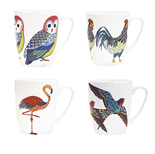 Churchill China Queens Paradise Birds Colourful Owl Flamingo Swallows Rooster Mug Cup Set of 4 13.52 fl oz - New Oak Design