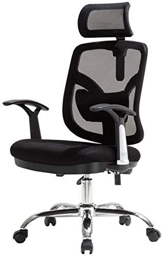 Silla de ordenador giratoria para videojuegos, silla de oficina, reposacabezas de apoyo lumbar, ajustable, crea sillón (color: negro)