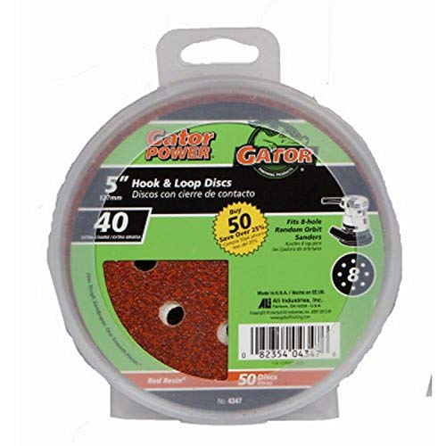 ALI INDUSTRIES 4347 8 Hole Hook and Loop 40 25 CT Grit Disc, 5-Inch, 50-Pack, 5