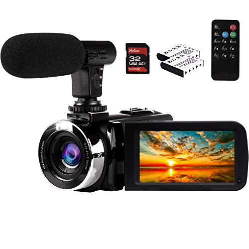 2.7K Video Camera Camcorder Vlogging Camera for YouTube 42MP Digital Camera Recorder 18X Digital Zoom 3.0 Inch Screen 270° Flip Video Camera with Microphone, Remote, 2 Batteries, 32GB SD Card