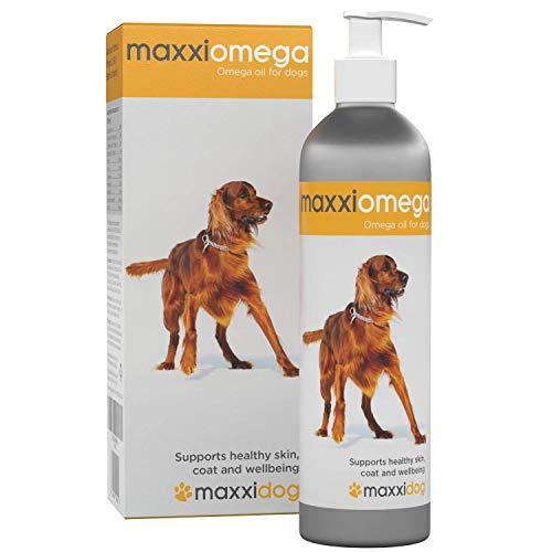 maxxidog – maxxiomega –Aceite para Perros con Bomba Fácil de Usar - Omega 3, 6 y 9, además de Vitaminas A, D y E y Biotina - Para Piel Sana y Pelaje Brillante - Sin Olor de Pescado - Suplemento Líquido 296 ml