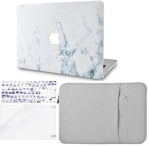 KECC MacBook Pro 13' Case (2020) w/UK Keyboard Cover Plastic Hard Shell + Sleeve + Screen Protector A2289/A2251 Touch Bar (White Marble)