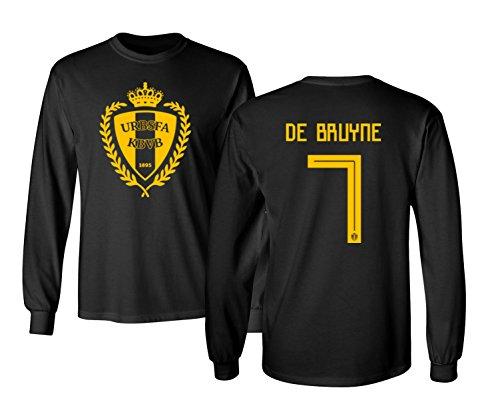 Tcamp Belgium 2018 National Soccer #7 Kevin DE BRUYNE World Championship Men's Long Sleeve T-Shirt (Black, Adult Large)