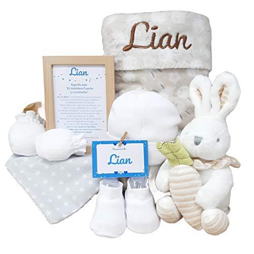 MabyBox Happy Animals | Canastilla Bebé | Set regalo recién nacido| Cesta de bebe Para regalo | Regalo Personalizado Bebe (Beige)