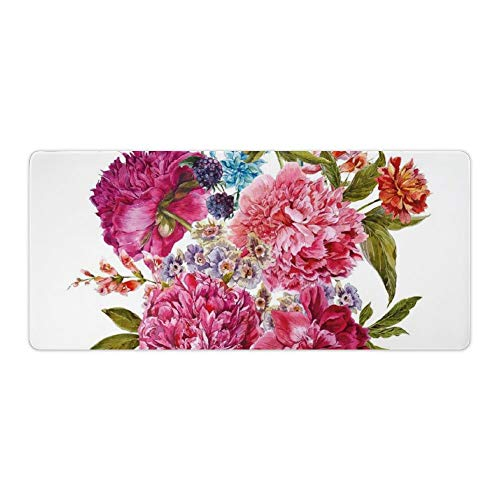 Extended Gaming Mouse Pad with Stitched Edges Large Keyboard Mat Non-Slip Rubber Base Gentle Summer Flora Hyacinths BlackBerry Peonies Victorian Vegetation Desk Pad for Gamer Office 16x35 Inch