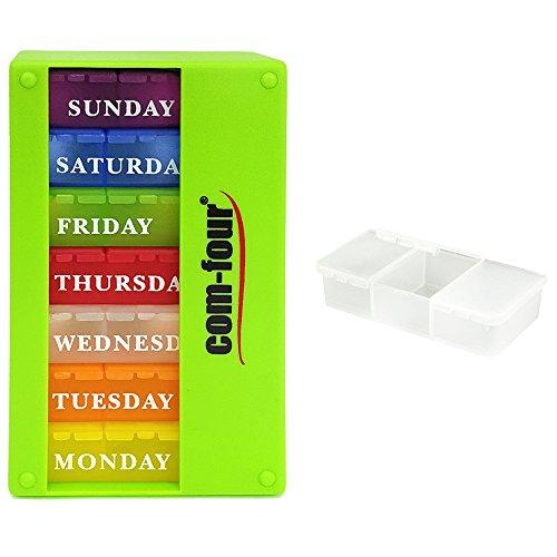 COM-FOUR® medicatie-dispenser 7 dagen in ENGELS, wekelijkse dispenser voor ochtend - middag - avond + pillendoos met 3 compartimenten voor onderweg [ENGELS] (groen)