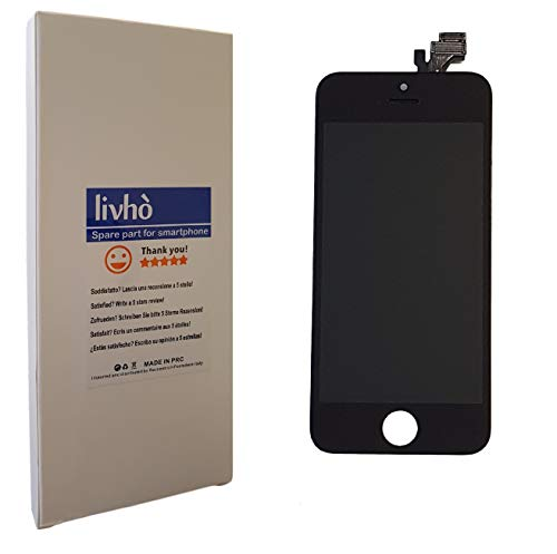 LIVHÒ® Pantalla Negro Compatible con iPhone 5 / Display LCD Retina y Vidrio Tactil