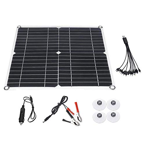 80w 18v Solar Panel Kit With 10a Solar Charge Controller + 10 In 1 Charging Line + Battery Clips + 4pcssuction Cup + Power Cord And Cable Connector Ideal For Snowmobile Tractor Trunk Rv Boat Etc