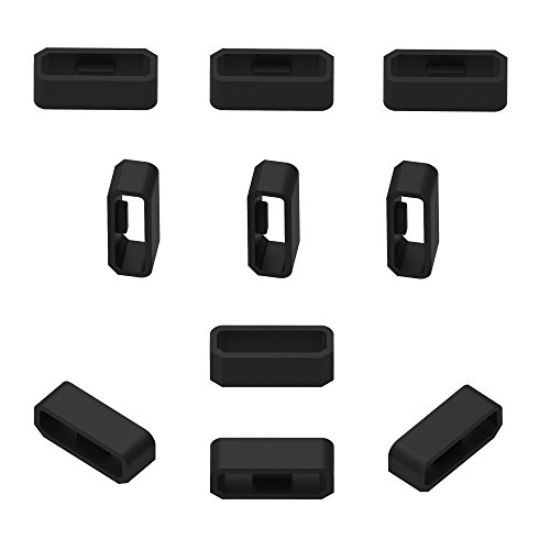 RuenTech Replacement Fastener Ring for Garmin Vivosmart HR / HR+ Bands(Pack of 11)Silicone Connector Security Loop for Garmin Vivosport and Vivosmart hr/hr plus(Black)