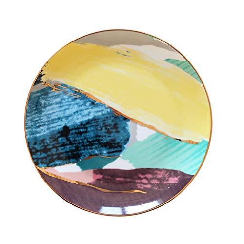 Assiette Plaque Caiyun Plaque De Peinture À l'huile Bleu Petit Déjeuner Plaque 8,11 Pouces Plat De Fruits Dessert De Banquet De Mariage Utilisation À La Maison