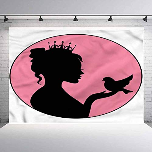 8x8FT Vinyl Wall Photography Backdrop,Princess,Silhouette Crown and Bird Background for Baby Shower Bridal Wedding Studio Photography Pictures