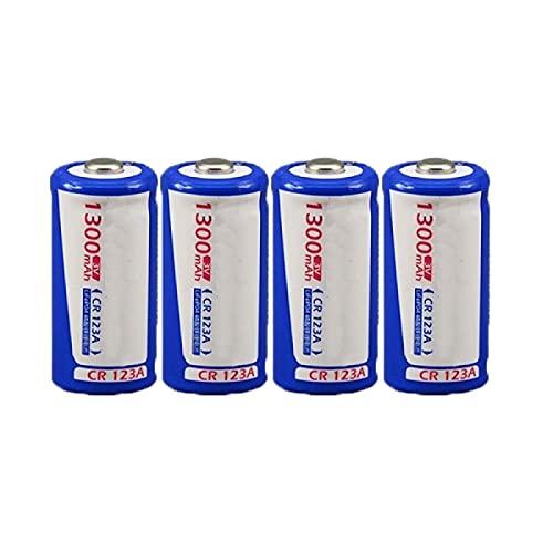 Moifer 4 unids gran capacidad Lifepo4 1300 mAh 3 V Cr123a batería de litio recargable, para linternas cámara electrónica dispositivos control remoto