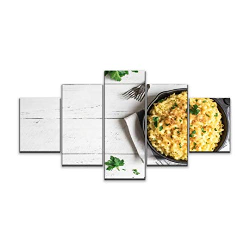 Night in U.S Canvas Art Wall mac and Cheese Baked Pasta Casserole Paintings Vintage Prints Home Decor Artworks Gift Ready to Hang for Living Room 5 Panels Large Size