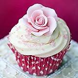 Set of 12 Gumpaste Sugar Flower Roses - Cake or Cupcake toppers (Pink)