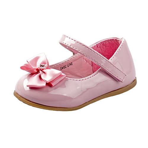 KIDSUN Infant Baby Girls Mary Jane Shoes Soft Sole Ballet Slippers with Bow Princess Dress Wedding Shoes Newborn Crib Shoes First Walkers Shoes