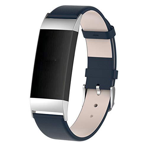 HGNZMD Correa De Cuero Genuino Compatible con Fitbit Charge 3 / Charge 4, Correas De Repuesto Pulsera Transpirable Strap De Muñeca Delgada Pulseras Deportiva Compatible con Charge 3/4,Azul