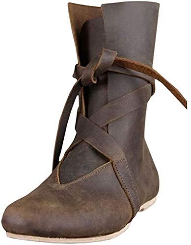Hombre Vintage Botas Planas Medieval Clásico Botas de Caballero Lace-up Fondo Plano Botas de Caballero Cabeza Redonda Botas de Faux Cuero