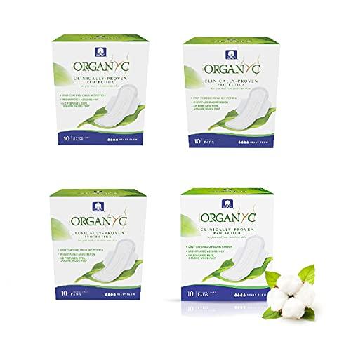 Organyc - Compresas de noche con alas - 100% Algodón Biológico - 4 x 10 unidades