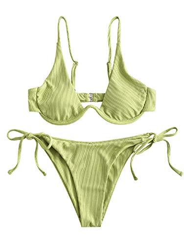 ZAFUL Damen Zweiteiliger Bügel Bikini-Set, Leopardenmuster Criss Cross Push Up High-Cut Gepolsterte Bikini Badeanzug (Grün, M)