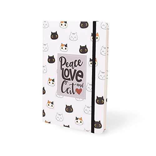 I-TOTAL® - Divertente Notebook A5 / Segnalibro con Chiusura Elastica   Quaderno elastico A5 a righe, 80 pagine (Cat)