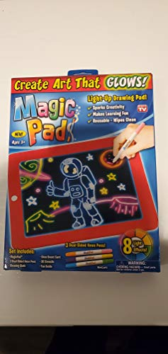 Ontel Bonus Magic Pad Deluxe Light Up LED Drawing Tablet with Extras - Includes 4 Dual Side Markets, Dry Eraser, Glow Boost Card, Fun Guide, 42 Stencils, and Carrying Case