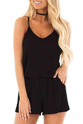 Loveternal Damen Jumpsuit Sommer Kurz Black Playsuits V-Ausschnitt Schwarz Overall Verstellbare Lose Ärmellos mit Taschen L