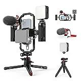 SMALLRIG Video Rig Kit mit Stabilisator Griff Smartphone Video Rig mit Videolicht, Mikrofon und...