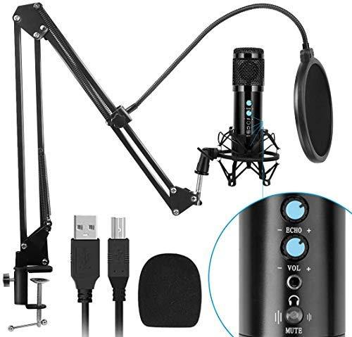 USB Mikrofon, Kondensator Mikrofon Kit 192kHZ / 24bit mit One Touch Stummschaltung & Mikrofonständer Mikrofonarm Popschutz für Aufnahmen, Podcast, Rundfunk, Gaming, Livestream auf YouTube und Facebook