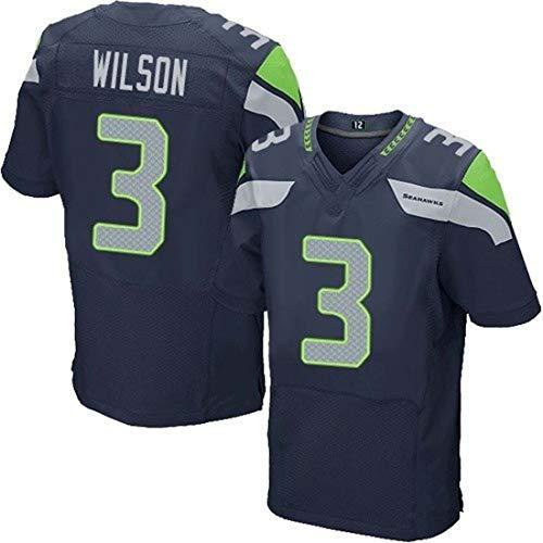 GLZTY Das NFL-Jersey der Männer, Seattle Seahawks 3# Wilson 25# 31# 12# Elite Edition gesticktes Fußball-Jersey-Kurzarm-Sport-Spitzen-T-Shirt,Blue-3,L