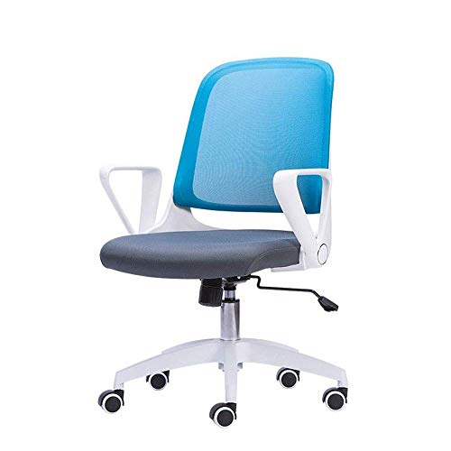 N/Z Daily Equipment Chairs Office Mid Back Swivel Lumbar Support Desk Computer Ergonomic Mesh with Armrest(23.6x19.3x36.4 inch) (Color : Blue)