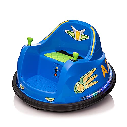 TOBBI Electric Ride on Bumper Car for Kids w/ Simplified Joystick, 6v Ride on Toys for Boys Girls w/ 360 Spin, LED Lights, ASTM-Certified, Without Remote Control, Light Blue+Green