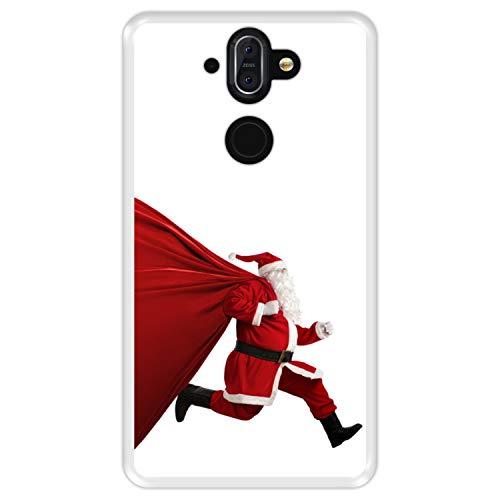 Funda Transparente para [ Nokia 8 Sirocco ] diseño [ Nochebuena, Papá Noel Tiene prisa ] Carcasa Silicona Flexible TPU