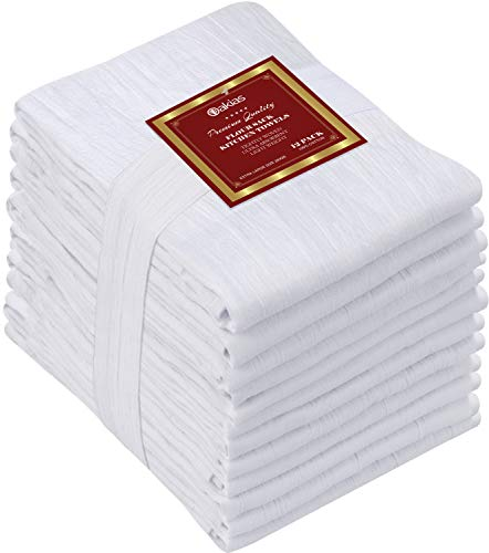 Oakias Flour Sack Towels 12 Pack White – Dish Towels 28 x 28 Inches – Cotton Tea Towels – Lightweight, Durable & Highly Absorbent – Machine Washable
