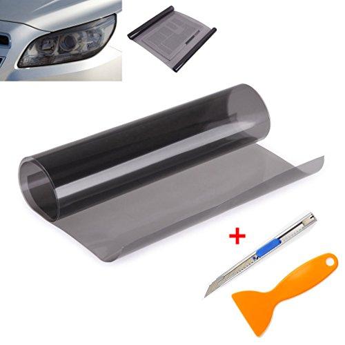 QEUhang 2 PCS Scheinwerfer Folie Tönungsfolie Aufkleber 120cm x 30cm für Auto Scheinwerfer Rückleuchten Blinker Nebelscheinwerfer (Hellschwarz)