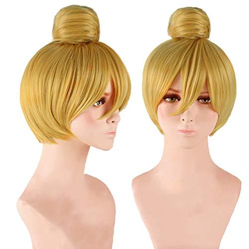 Anogol® DM-391 Haarkappe + Haargummi für Damen, vorgestylt, für Partys, Anime, Cosplay, Perücke, Kurzblond