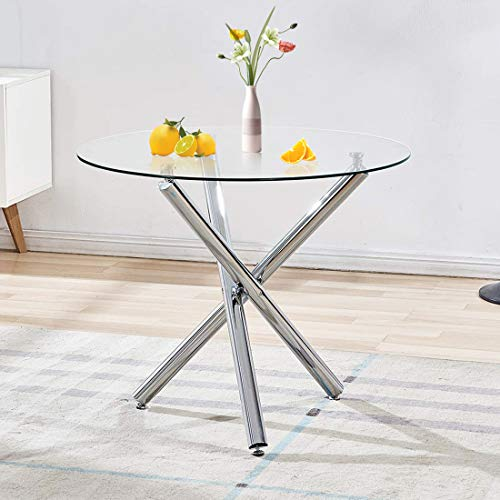 Dining Table with Clear Tempered Glass Top, 3 Chrome Legs Round Table for 2 or 4 Person, Modern Round Glass Kitchen Table Furniture for Home Office Kitchen Dining Room(W 35.4 x L 35.4 x H 29.5 inch)