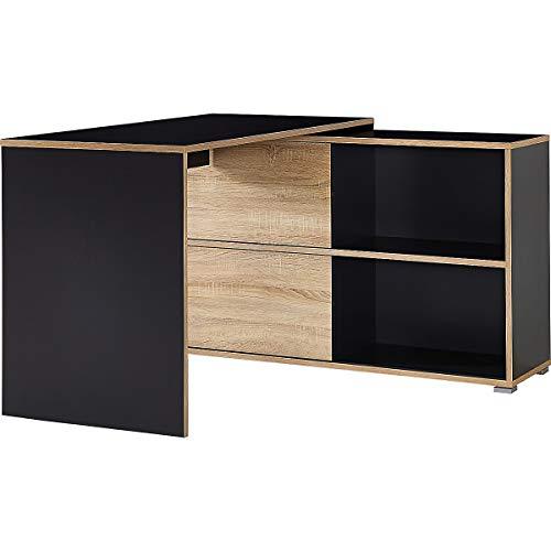 Certeo Porto Schreibtisch in Anthrazit/Sonoma-Eiche | Wangenschreibtisch mit integriertem Sideboard | 4 Fächer + 2 Schiebetüren |HxBxT 76 x 120 x 120 cm