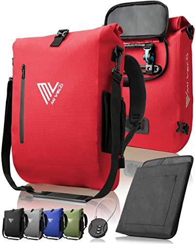 MIVELO - 3 in 1 Fahrradtasche - Rucksack - Schultertasche wasserdicht, mit Laptopfach, für Fahrrad Gepäckträger Aller Art (Rot, 20L)