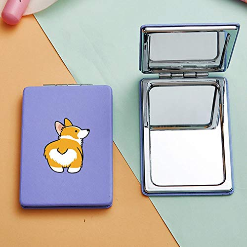 LASISZ Miroir de Maquillage Portable Corgi Mignon avec Double côtés Drôle Chien Loupe Miroirs de courtoisie cosmétiques compacts, 8605-Purple-Square