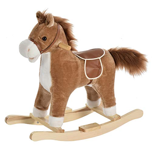 homcom Cavallo a Dondolo Giocattolo con Suoni Realistici per Bambini 36-72 Mesi, Include 2 Batterie AA, Marrone