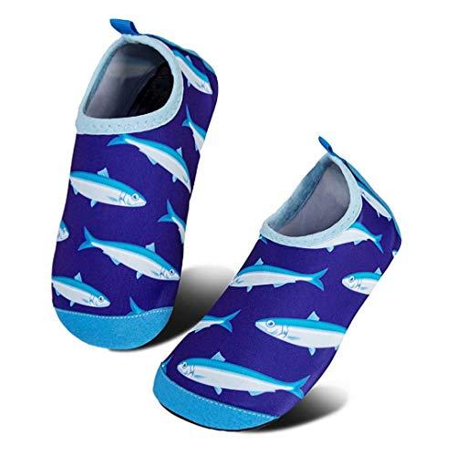 HMIYA Kinder Badeschuhe rutschfeste Aquaschuhe Wasserschuhe Schnell Trocknend Schwimmschuhe Strandschuhe für Jungen Mädchen Baby Beach Pool Surfen(Marine Hai Herde,26/27 EU)