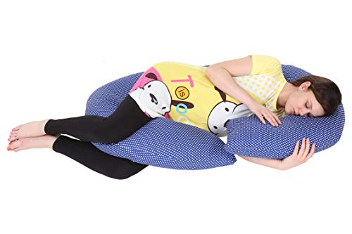 MomToBe C Shaped Pregnancy Pillow with 100% Cotton Stretch Detachable Cover - Blue Polka