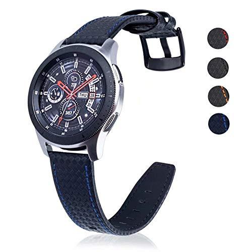 DEALELE Cinturino per Samsung Gear S3 Frontier/Classic/Galaxy Watch 46mm, Bracciale di Ricambio in 22mm Pelle in Fibra di Carbonio, Nero/Blu