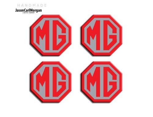 JasonCarlMorgan MG ZR LE500 Style - Tapacubos para llantas de aleación (OCT45 mm), color rojo y plateado