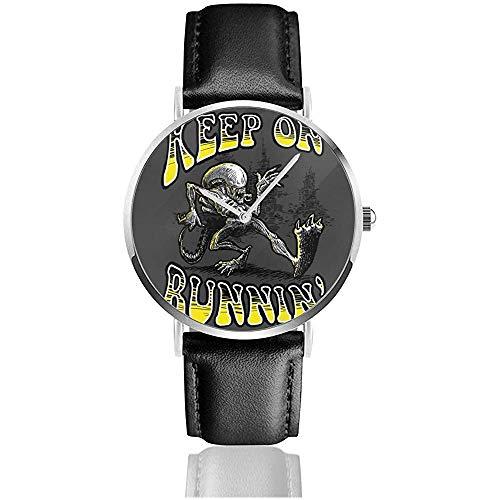 Unisex Keep On Running Aliens Xenomorph Relojes Reloj de Cuero de Cuarzo...